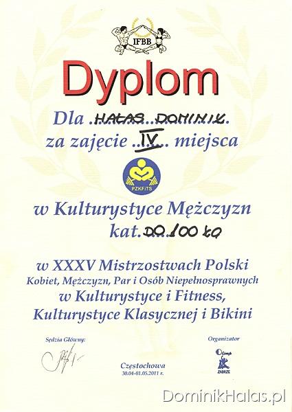 Dyplom - Mistrzostwa Polski 2011